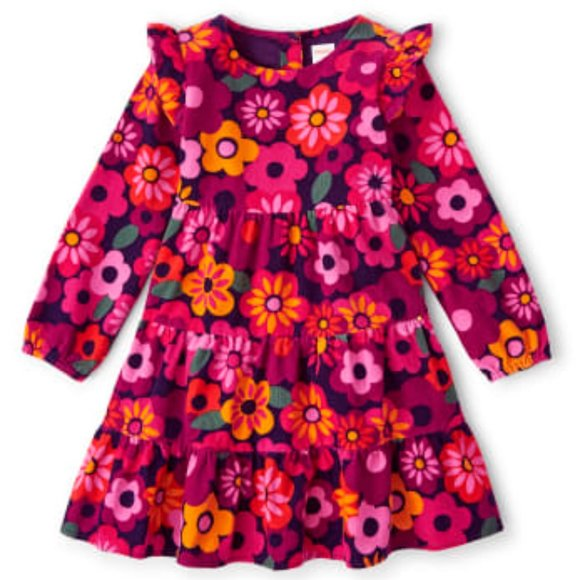 NWT Girls Long Sleeve Floral Corduroy Tiered Dress